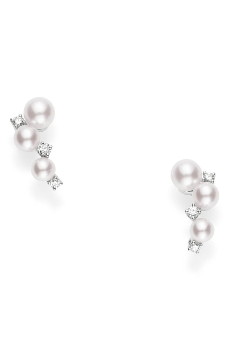 MIKIMOTO Pearl & Diamond Cluster Earrings, Main, color, WHITE GOLD
