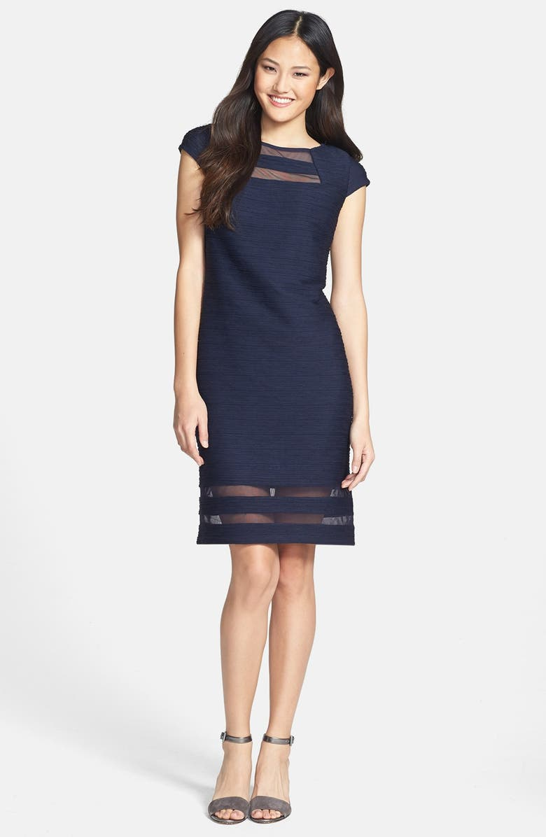 TAYLOR DRESSES Illusion Banded Stretch Knit Sheath Dress, Main, color, Navy
