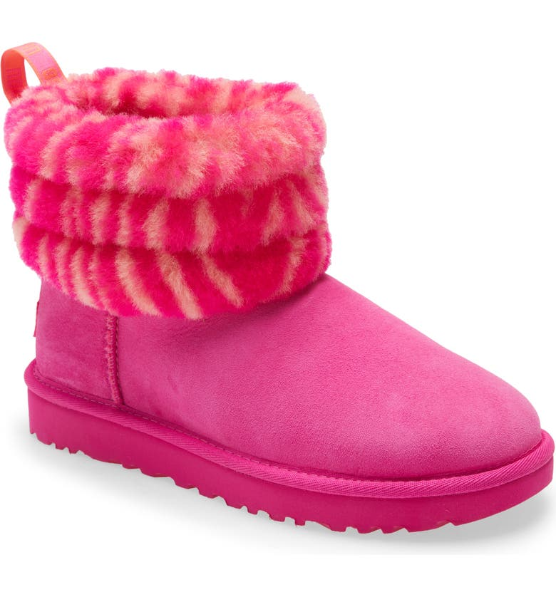UGG<SUP>®</SUP> Mini Fluff Quilted Animal Print Boot, Main, color, ROCK ROSE SUEDE/ ZEBRA PRINT