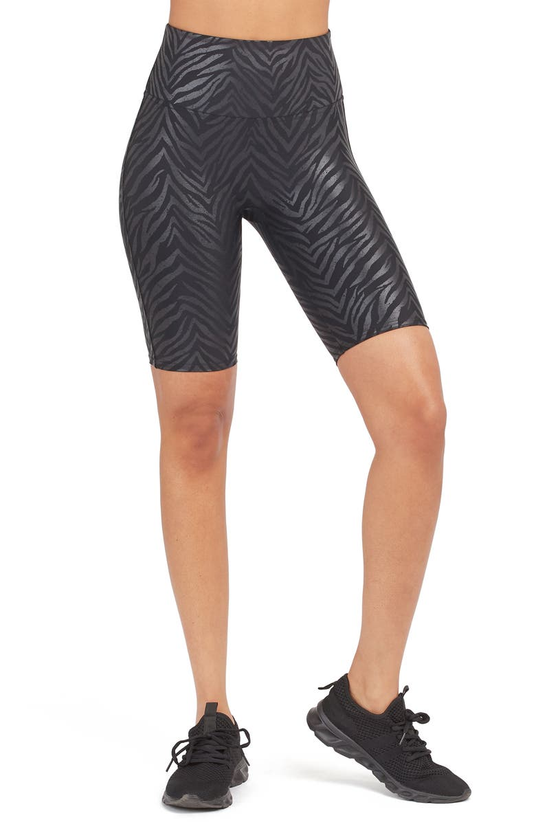 SPANX<SUP>®</SUP> Faux Leather Bike Shorts, Main, color, 002