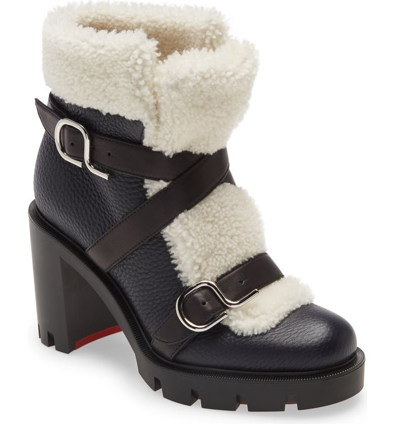 CHRISTIAN LOUBOUTIN Pole Chic Genuine Shearling Bootie, Main, color, NOCTURNE/ NATURAL