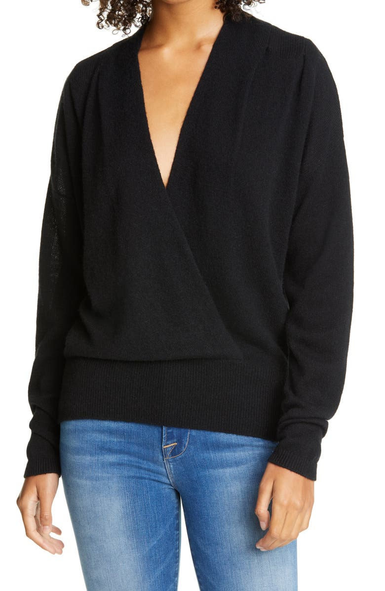 FRAME Surplice Wool & Cashmere Sweater, Main, color, 001