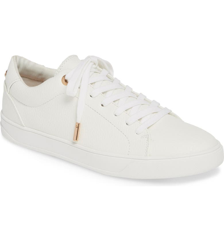 TOPSHOP Curly Low Top Sneaker, Main, color, White