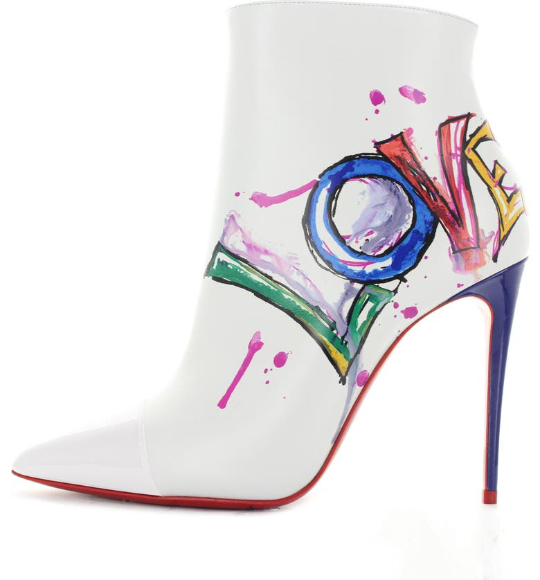 CHRISTIAN LOUBOUTIN Love Pointy Toe Bootie, Main, color, WHITE