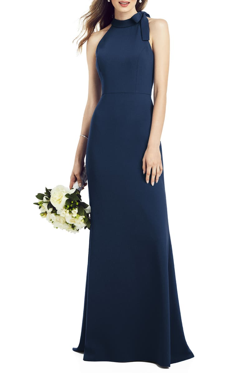 AFTER SIX Bow Neck Crepe Gown, Main, color, MIDNIGHT