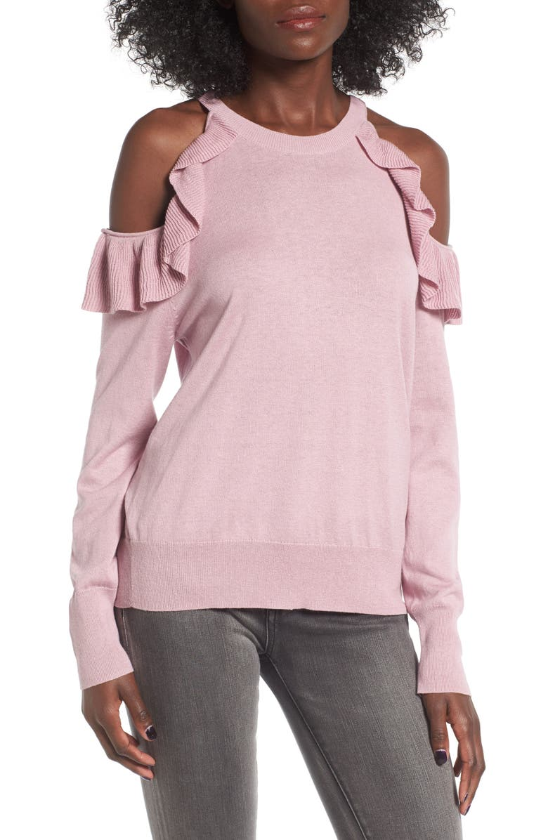 BP. Ruffle Cold Shoulder Pullover, Main, color, 680