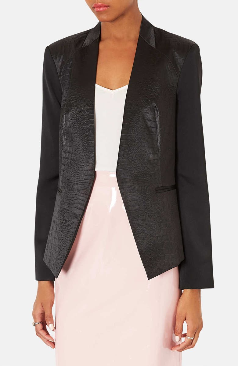 TOPSHOP Embossed Faux Leather Blazer, Main, color, 001