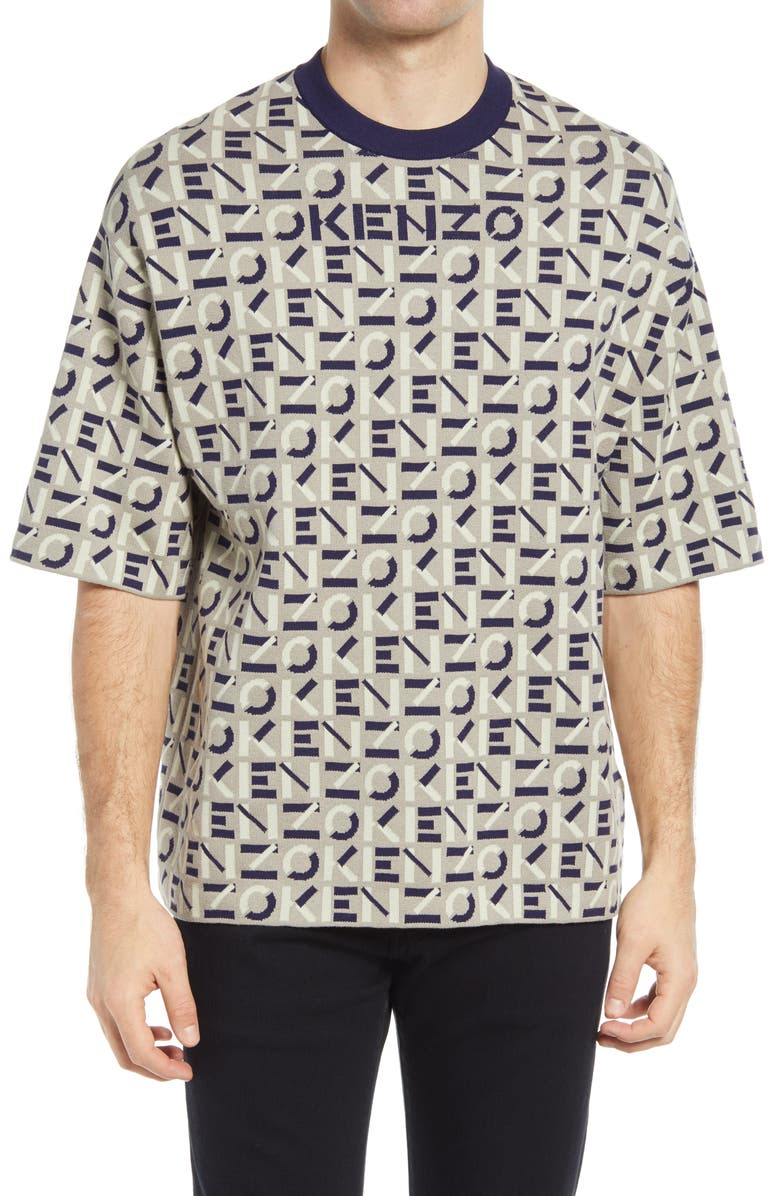 KENZO Monogram Oversize Sweater, Main, color, DOVE GREY