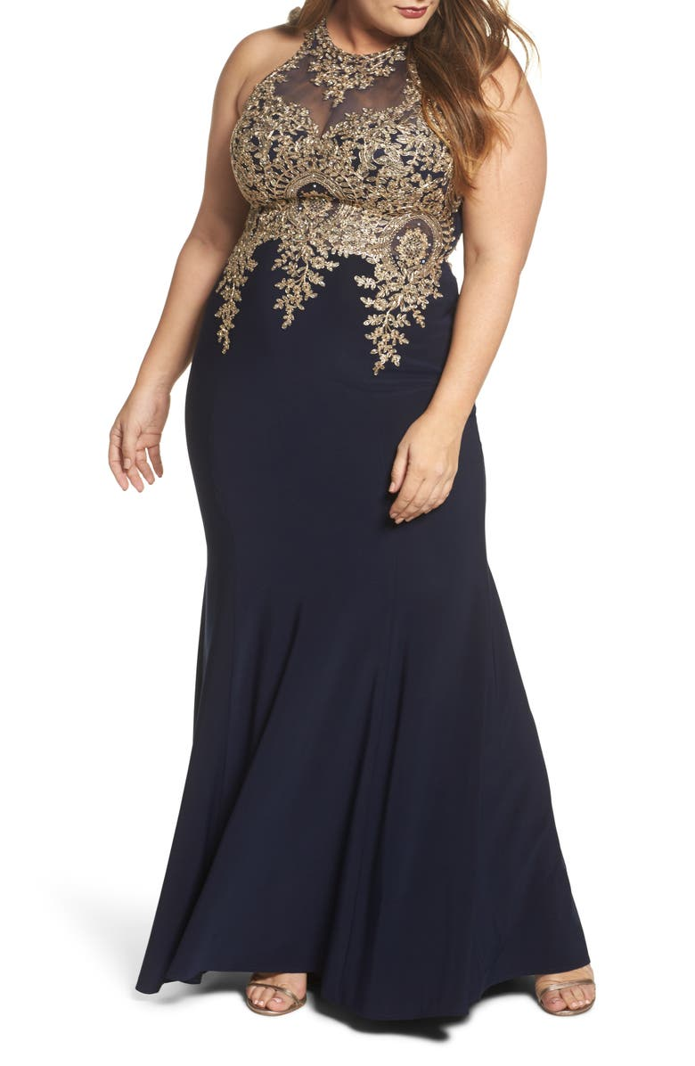XSCAPE Embellished Mermaid Gown, Main, color, 409