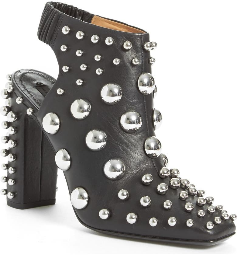 ALEXANDER WANG 'Ellery' Studded Cutout Bootie, Main, color, BLACK LEATHER
