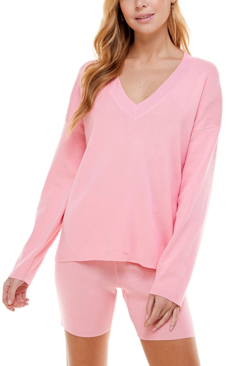 WAYF '98 Carson V-Neck Sweater, Main, color, CANYON PINK