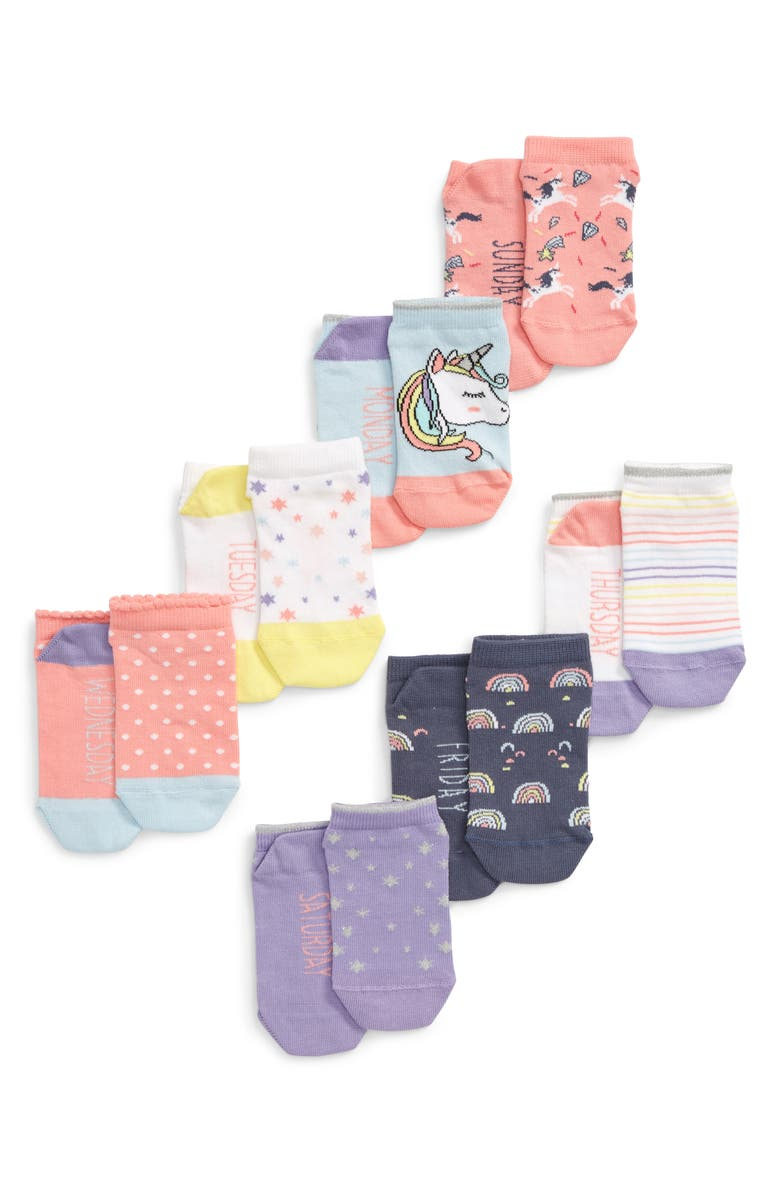 TUCKER + TATE Days of the Week Assorted 7-Pack No-Show Socks, Main, color, BLUE OMPHALODES MULTI