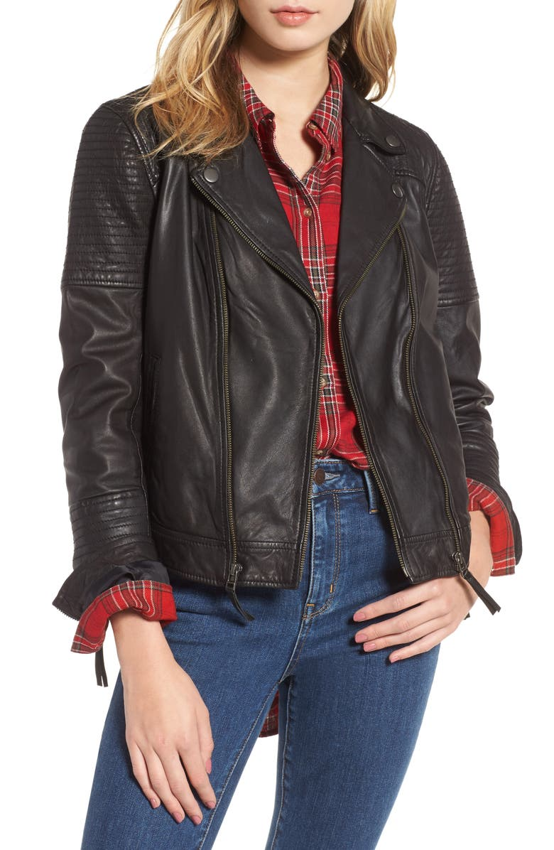 TREASURE & BOND Quilted Leather Moto Jacket, Main, color, 001