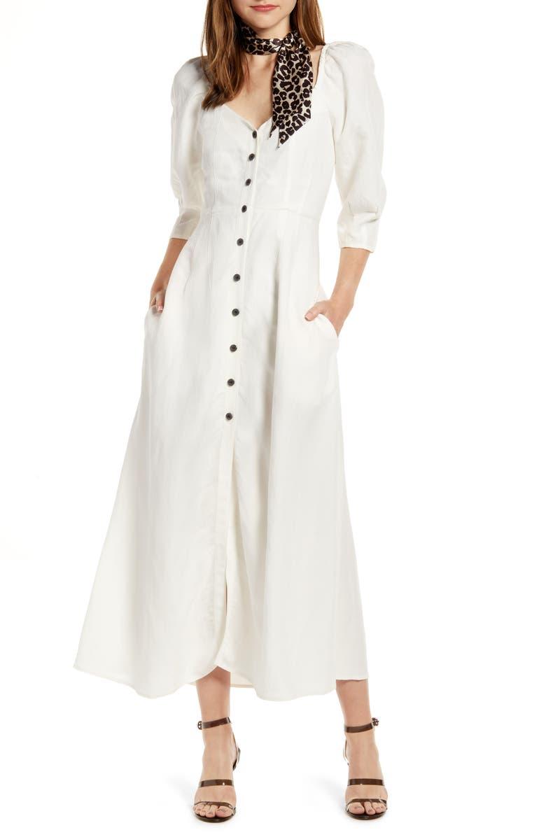 SOMETHING NAVY Puff Sleeve Dress, Main, color, IVORY