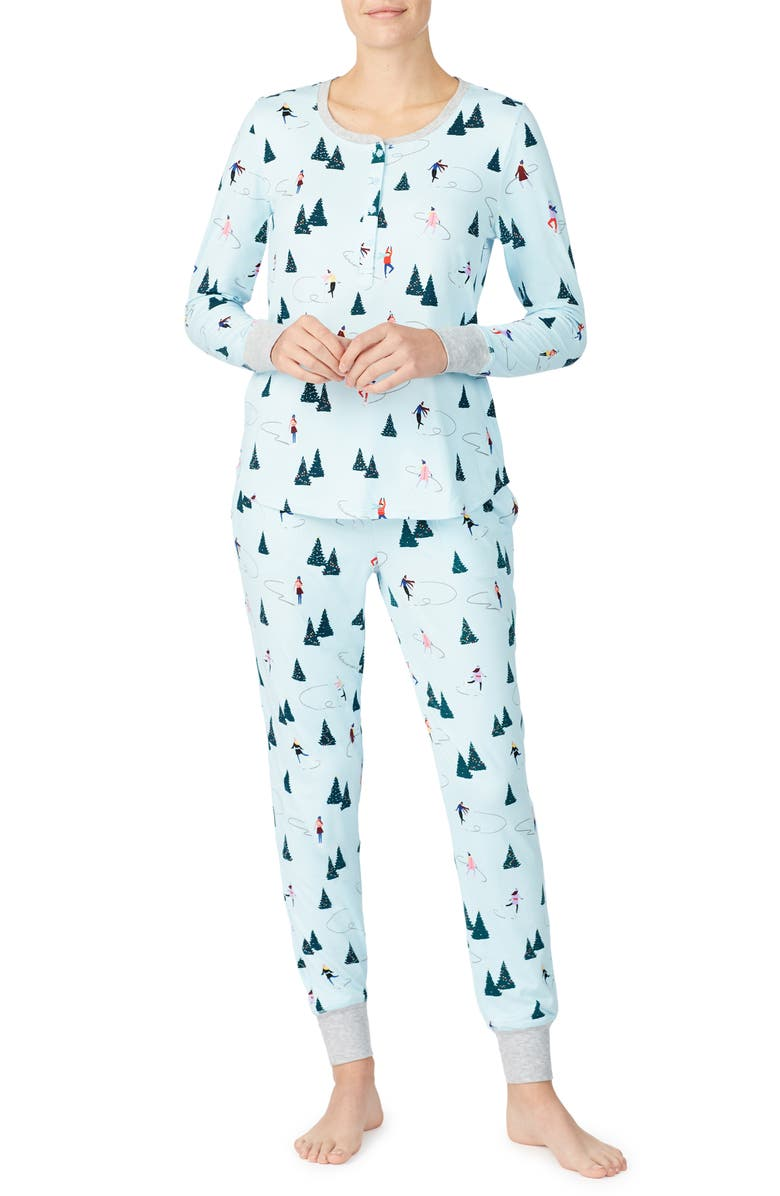 KATE SPADE NEW YORK print brushed jersey pajamas, Main, color, 102