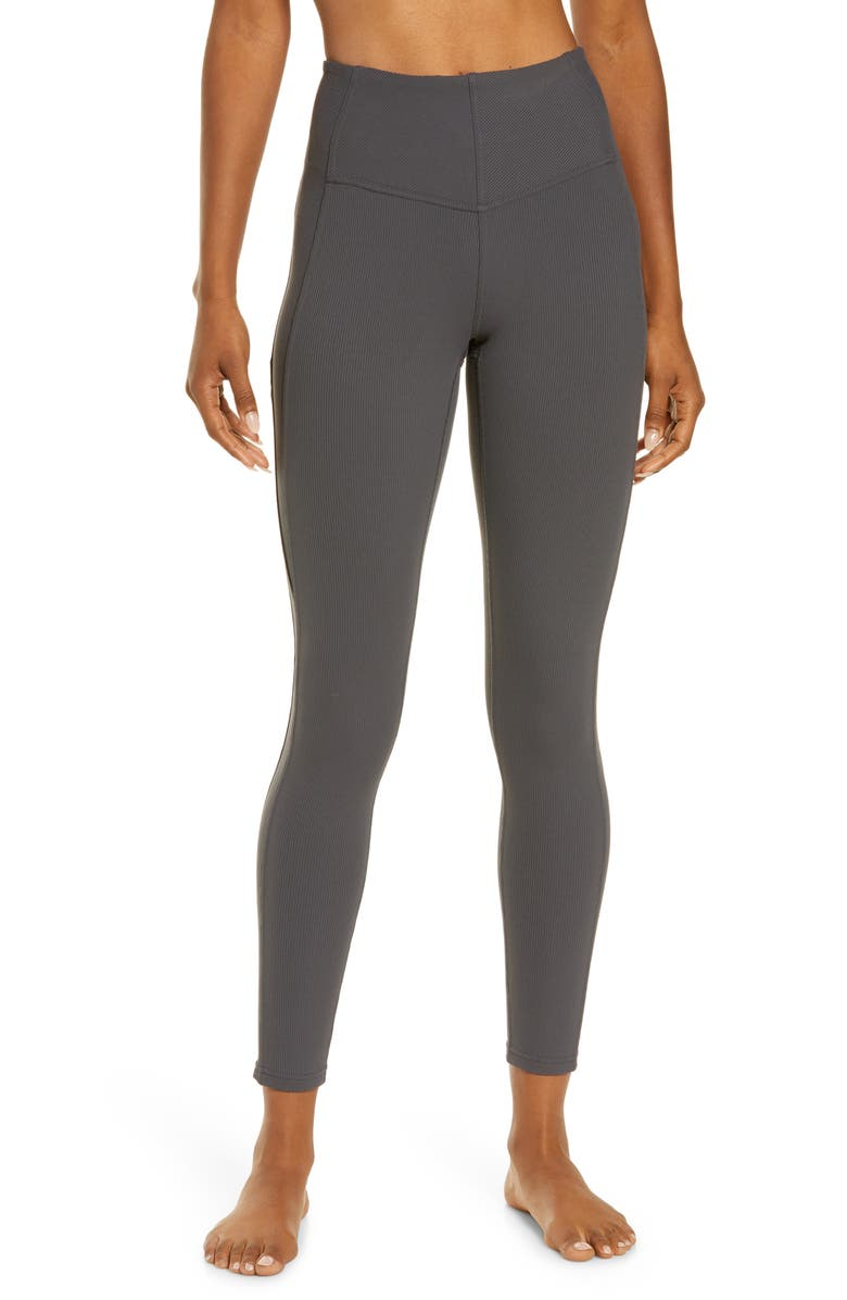 ZELLA Live In High Waist Rib Ankle Leggings, Main, color, GREY FORGED