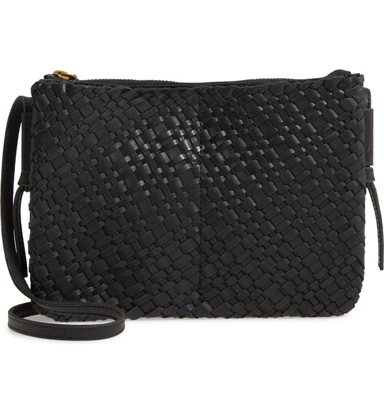 MADEWELL The Knotted Woven Leather Crossbody Bag, Main, color, TRUE BLACK