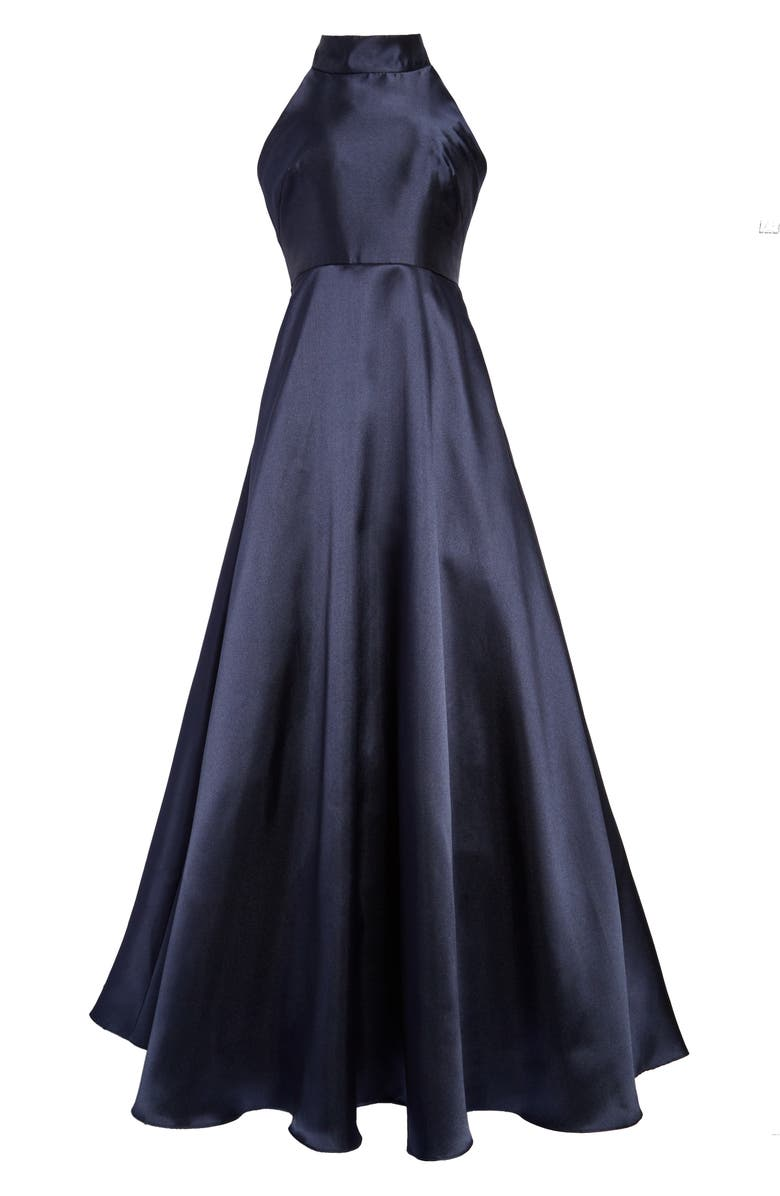 ML MONIQUE LHUILLIER Mock Neck Fit & Flare Gown, Main, color, 400