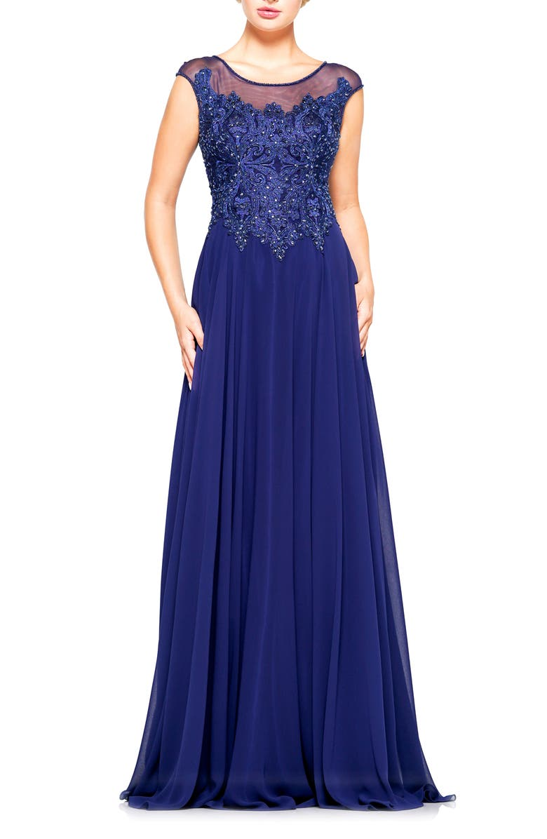 MARSONI Illusion Embellished Lace & Chiffon Gown, Main, color, 400