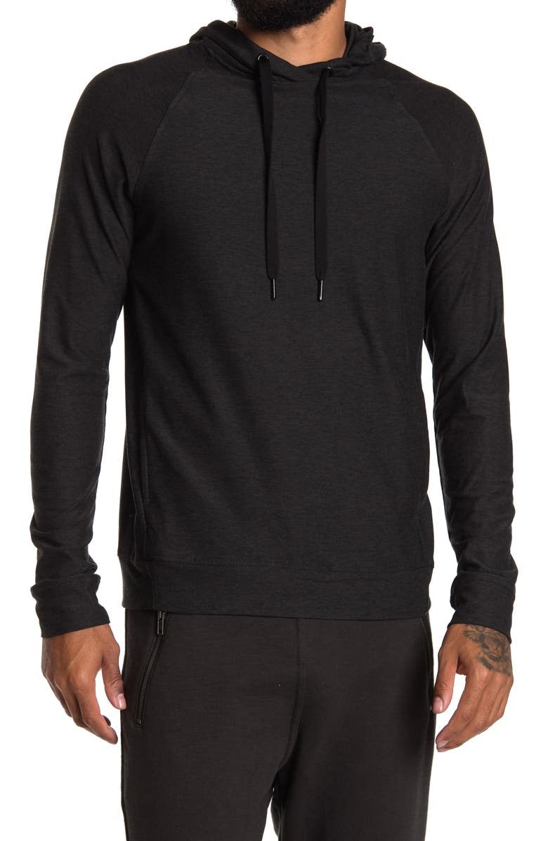 90 DEGREE BY REFLEX Long Sleeve Heathered Pull Over Hoodie, Main, color, HTR.BLACK