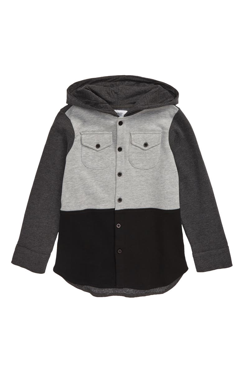 WESC Colorblock Hooded Button-Up Shirt, Main, color, 020