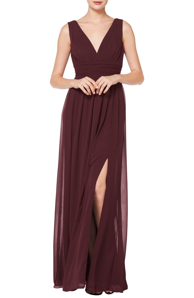 #LEVKOFF V-Neck Pleat Chiffon A-Line Gown, Main, color, WINE