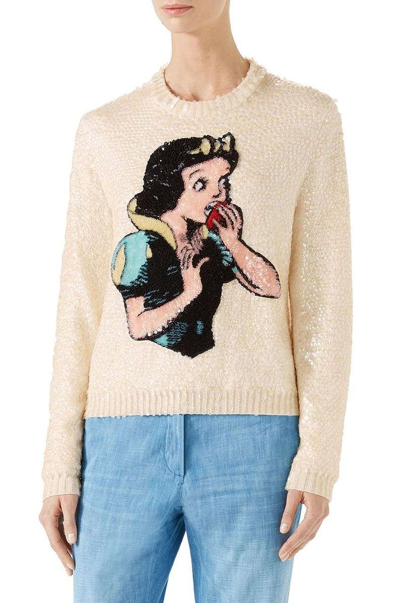 GUCCI Snow White Sequin & Wool Sweater, Main, color, 108