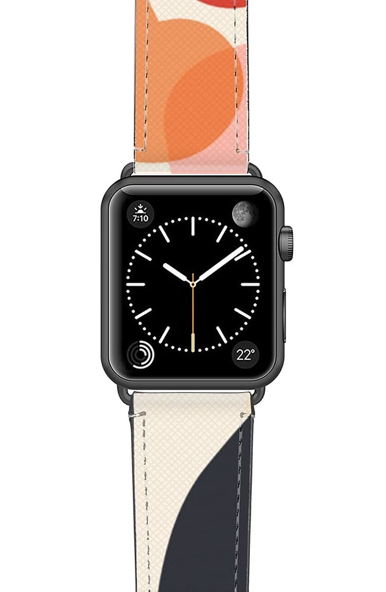 CASETIFY Cool Beans Saffiano Faux Leather Apple Watch<sup>®</sup> Strap, Main, color, PINK/ BLUE/ SPACE GREY