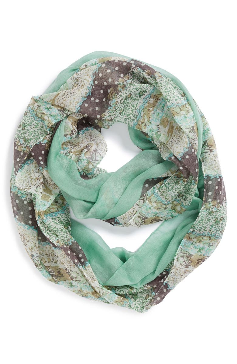 DAVID & YOUNG Print Colorblock Infinity Scarf, Main, color, MINT