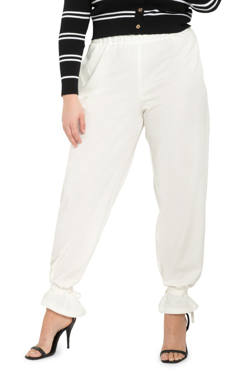 ELOQUII Ankle Tie Pants, Main, color, SOFT WHITE
