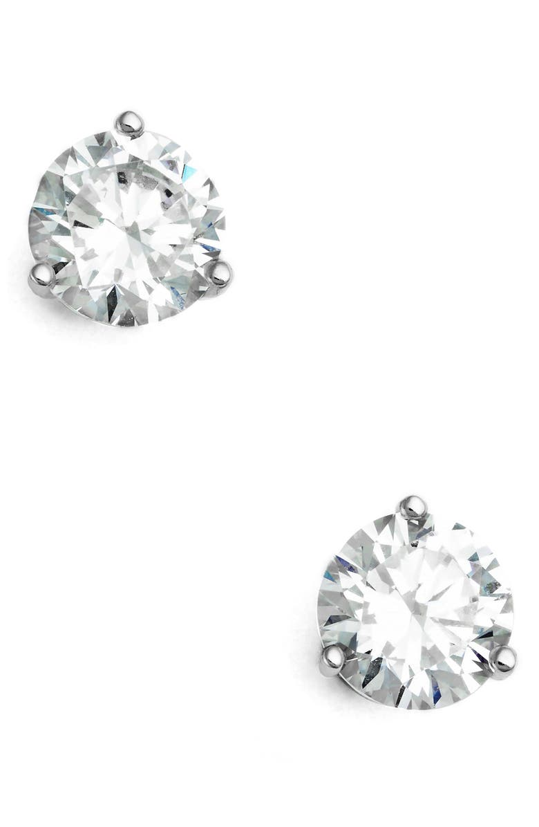 NORDSTROM 2ct tw Cubic Zirconia Earrings, Main, color, CLEAR- SILVER ROUND