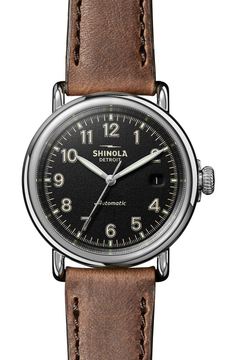 SHINOLA Runwell Automatic Leather Strap Watch, 40mm, Main, color, 200