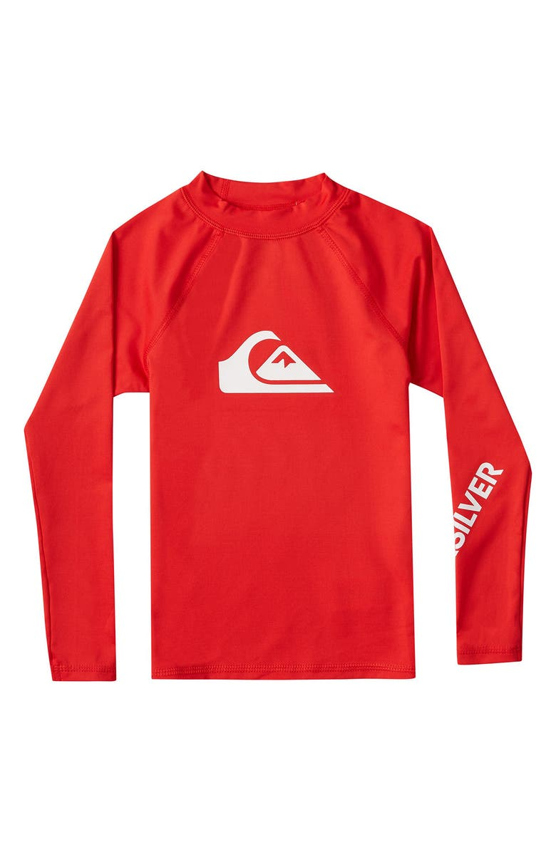 QUIKSILVER Kids' All Time Long Sleeve Rashguard, Main, color, HIGH RISK RED