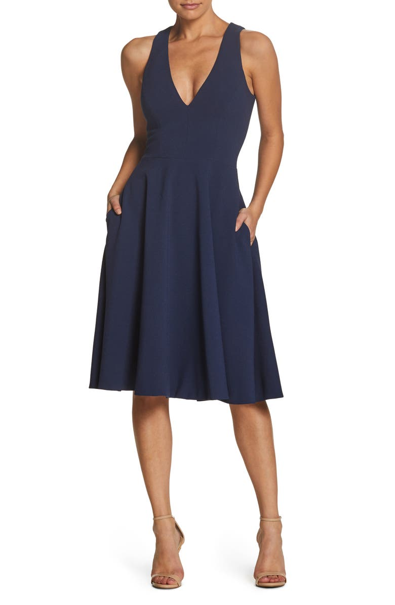 DRESS THE POPULATION Catalina Fit & Flare Cocktail Dress, Main, color, MIDNIGHT BLUE
