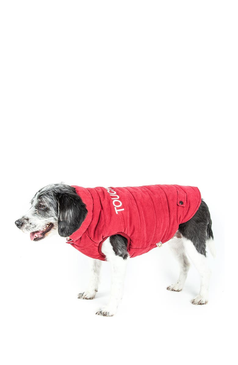 TOUCHDOG Waggin Swag Reversible Insulated Pet Coat - Large, Main, color, PINK / WHITE