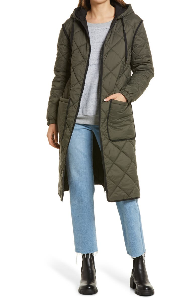 TREASURE & BOND Long Hooded Quilted Coat, Main, color, OLIVE NIGHT