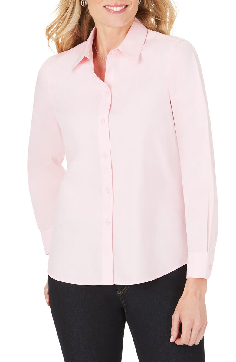 FOXCROFT Shaped Fit Button-Up Shirt, Main, color, CHAMBRAY PINK