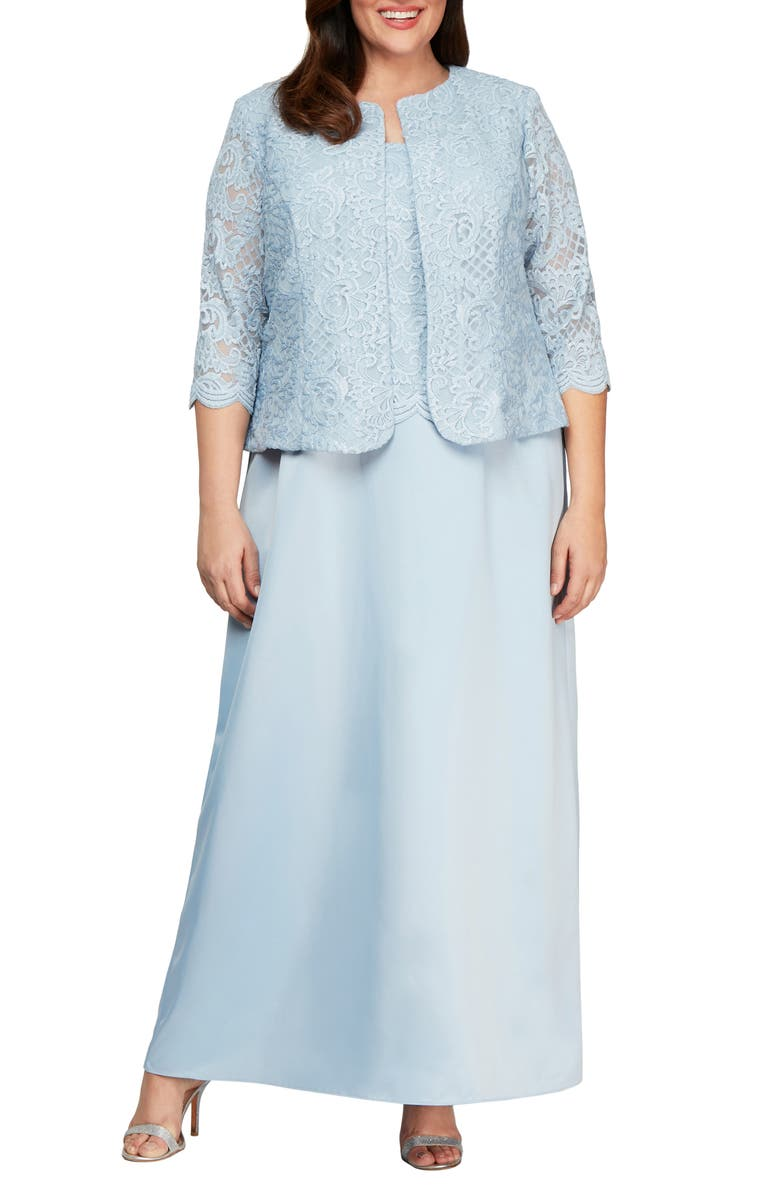 ALEX EVENINGS Embroidered Lace Mock Two-Piece Gown with Jacket, Main, color, HYDRANGEA