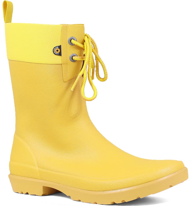 BOGS Floral Lace-Up Waterproof Rain Boot, Main, color, MUSTARD RUBBER
