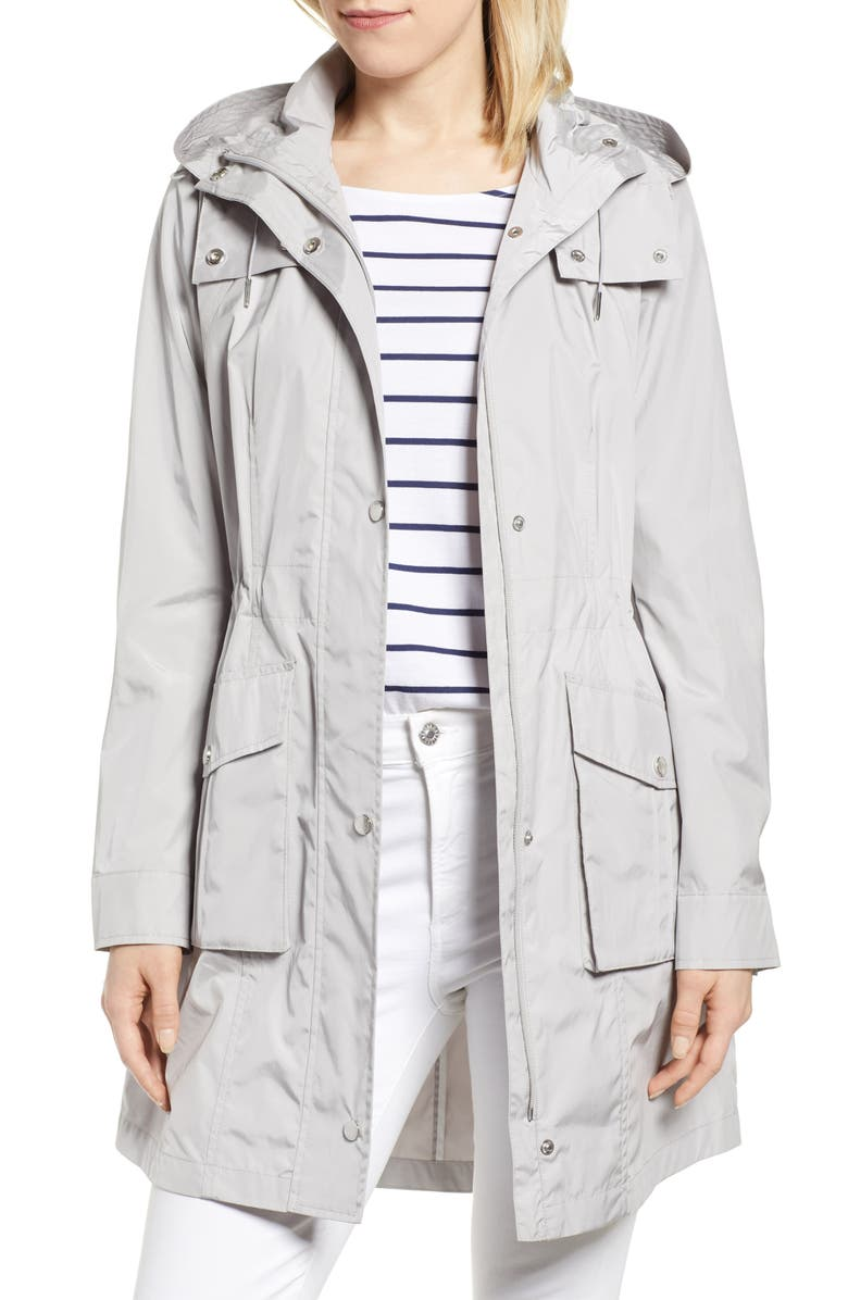 COLE HAAN SIGNATURE Packable Rain Jacket with Removable Hood, Main, color, PEARL GREY