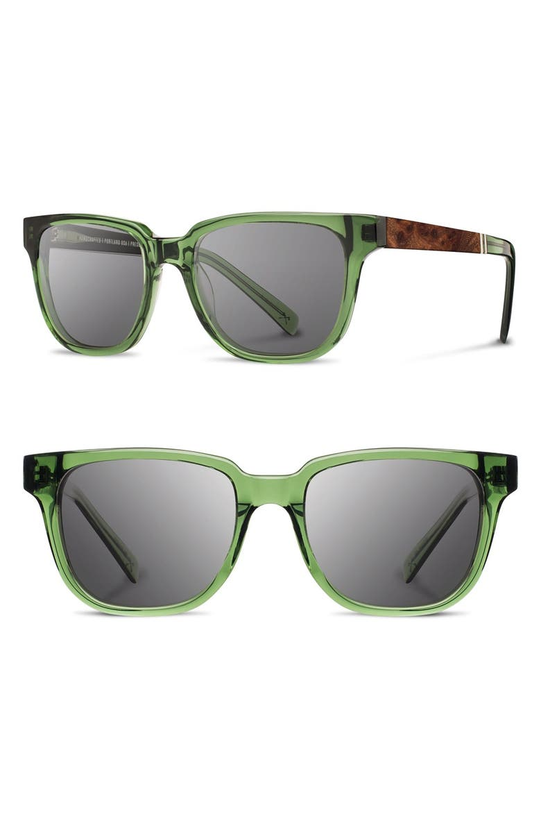SHWOOD 'Prescott' 52mm Polarized Sunglasses, Main, color, EMERALD/ ELM/ GREY