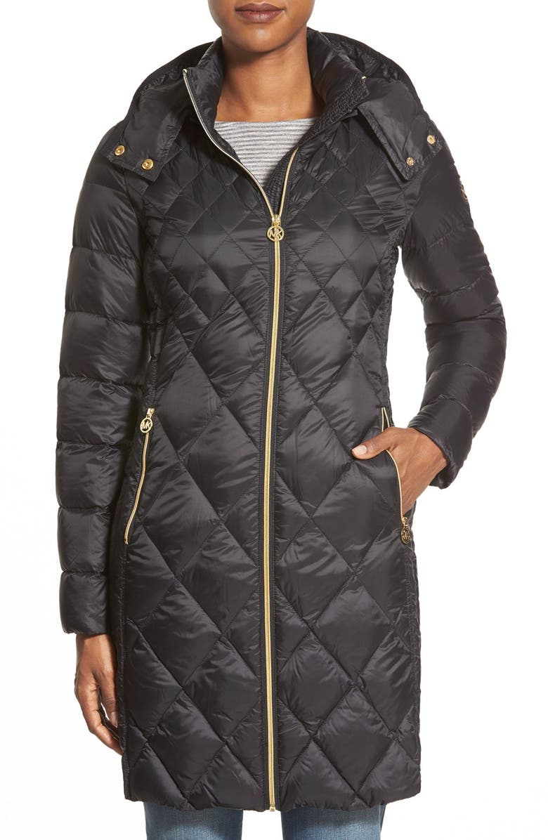 MICHAEL MICHAEL KORS Packable Diamond Quilted Down Coat, Main, color, 001