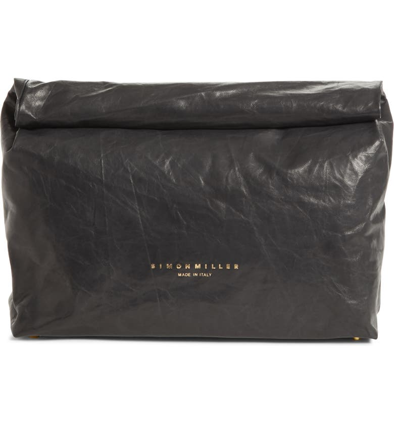 SIMON MILLER Lunchbag Leather Roll Top Clutch, Main, color, 001