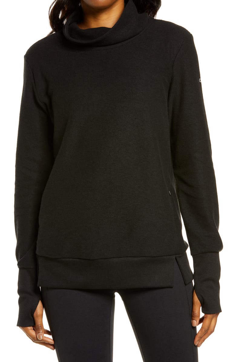 ALO Warmth Cover-Up Turtleneck, Main, color, BLACK