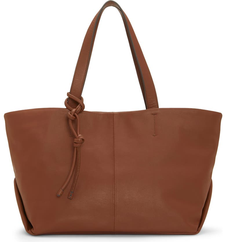 VINCE CAMUTO Maryn Small Leather Tote, Main, color, DANISH BROWN