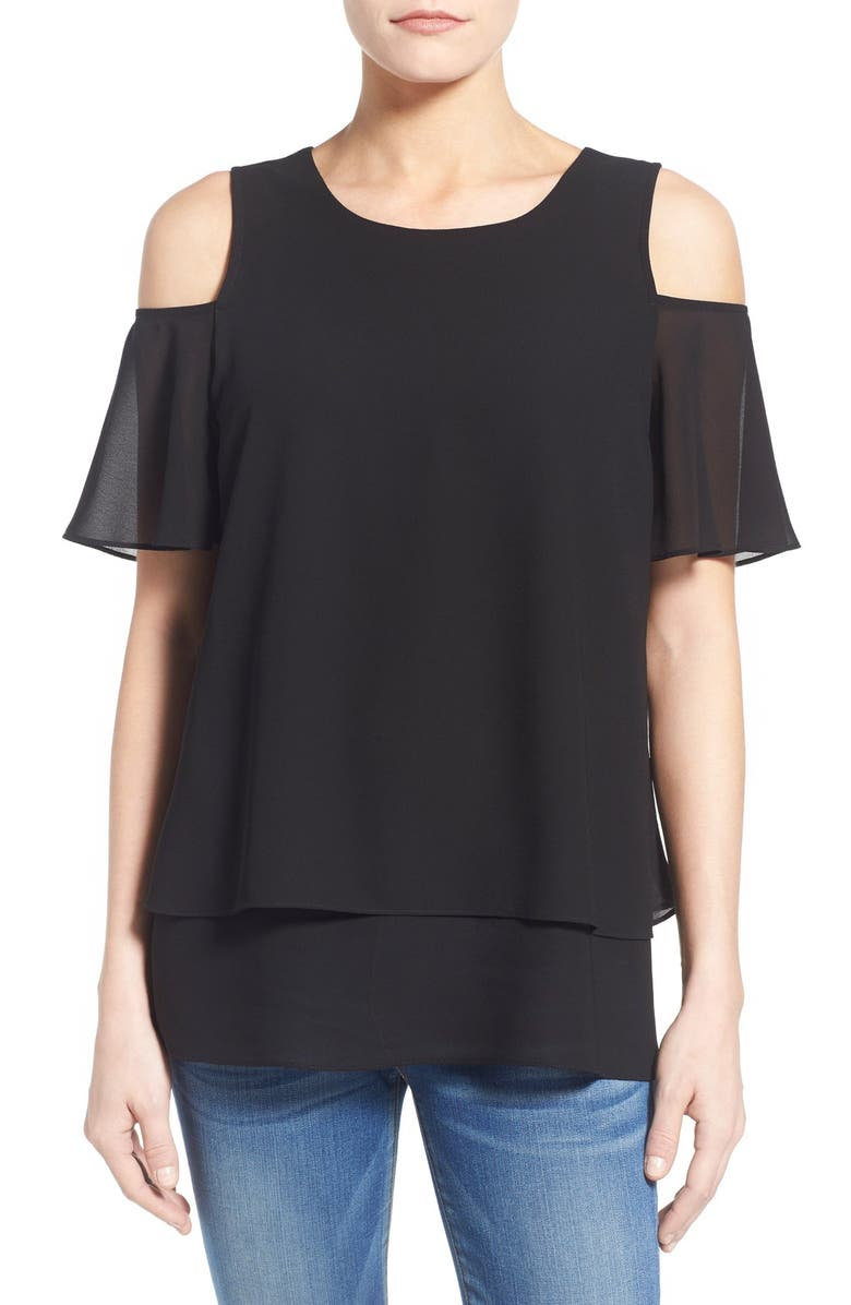 BOBEAU Tiered Cold Shoulder Top, Main, color, 009