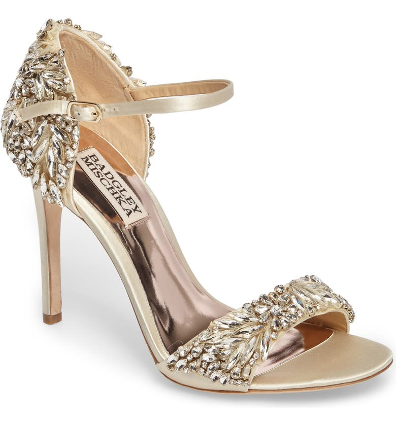 BADGLEY MISCHKA COLLECTION Tampa Ankle Strap Sandal, Main, color, IVORY SATIN