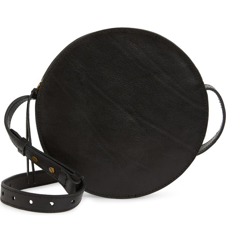 MADEWELL The Simple Circle Leather Crossbody Bag, Main, color, 001