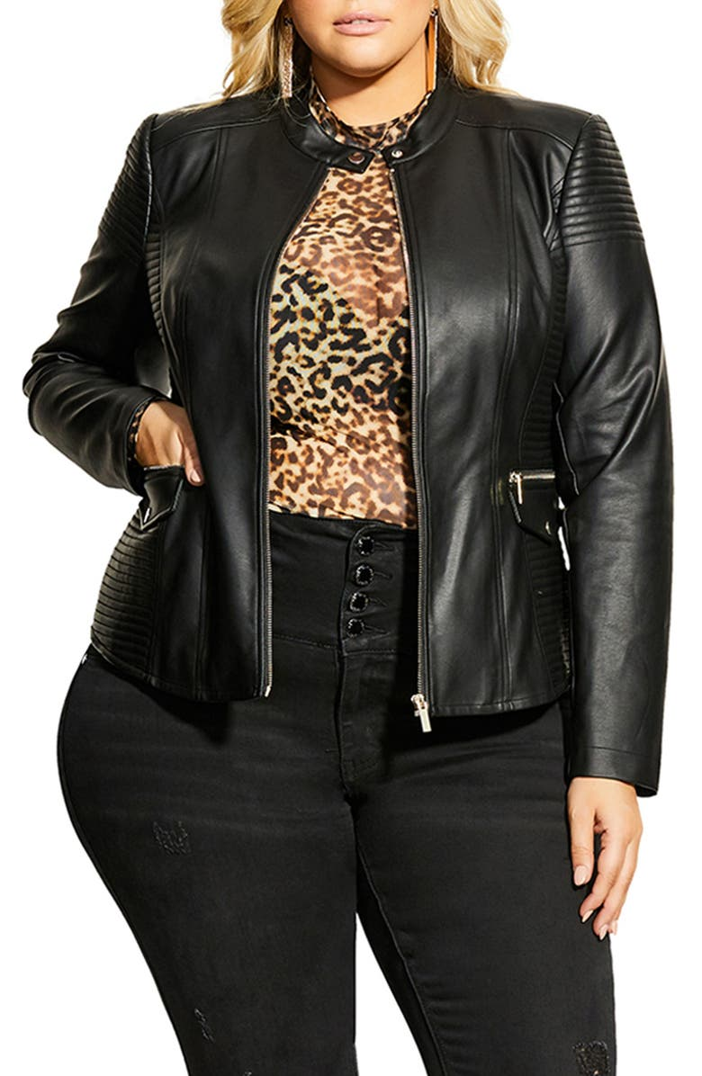 CITY CHIC Topstitch Detail Faux Leather Biker Jacket, Main, color, 001