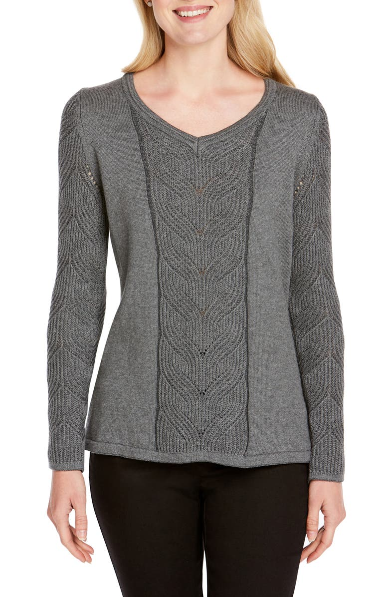 FOXCROFT Tabitha Cable Knit Sweater, Main, color, 035